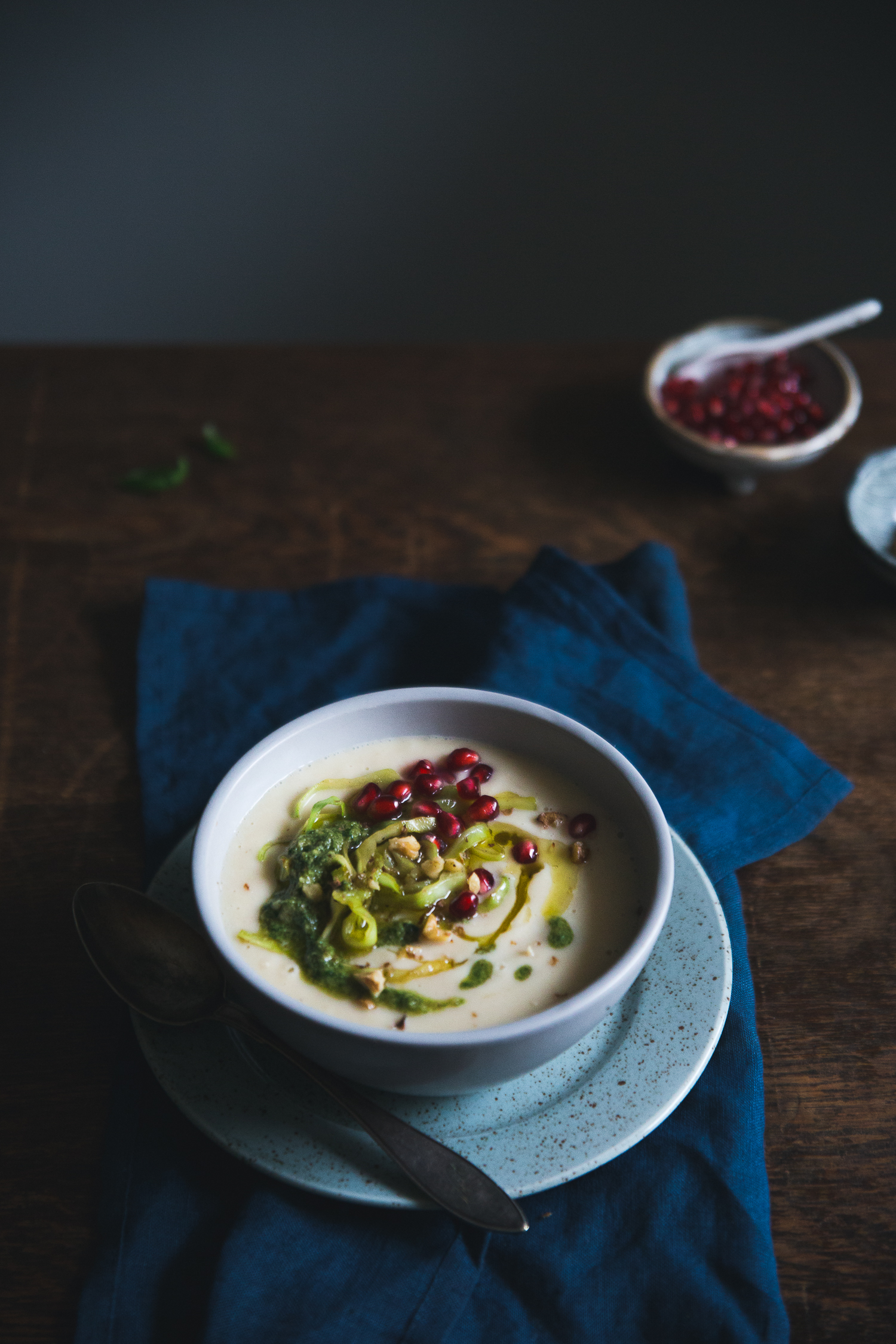 ... ROASTED PARSNIP & BUTTER BEAN SOUP WITH WALNUT PESTO & CARAMELIZED