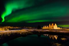 Aurora Borealis at Straumur, Harnarfjordur, Iceland