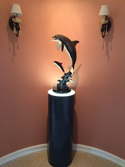 Black Alicante Cylinder Pedestal with Dolphin