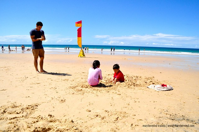 My Cousins Playing Sand at Rainbow Beach