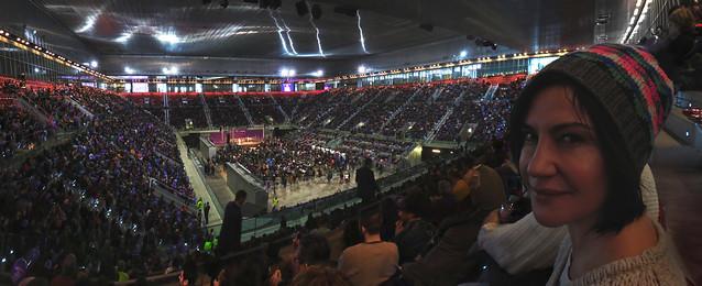 Maite en el Mitin para Podemos en Caja Majica, Madrid (2015)