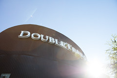 Sun behind the Doubletree sign