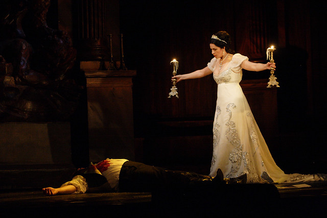Bryn Terfel as Scarpia and Angela Gheorghiu as Tosca in Tosca, The Royal Opera © ROH/Catherine Ashmore, 2010