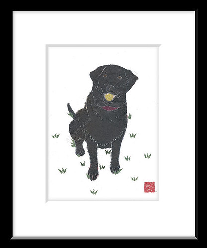 Black Lab Pet Portrait Paper Collage