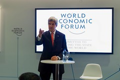 U.S. Secretary of State John Kerry addresses a group of young business people on January 17, 2017, at the World Economic Forum in Davos, Switzerland. [State Department photo/ Public Domain]