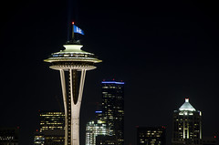 The 12th Man Flag flying above the Space Needle