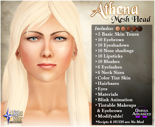 *LightStar Mesh Head - Athena - SecondLifeHub.com