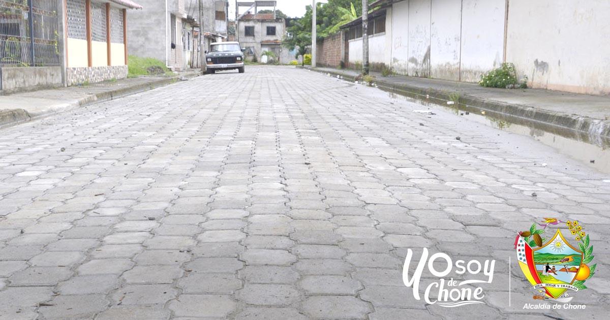 Calles de la Ciudadela Los Naranjos Uno de Chone adoquinadas 100%
