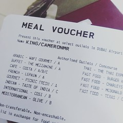 I love flying Emirates - food voucher included seeing as I'm in Dubai for a day! (I'm used to Ryanair...)
