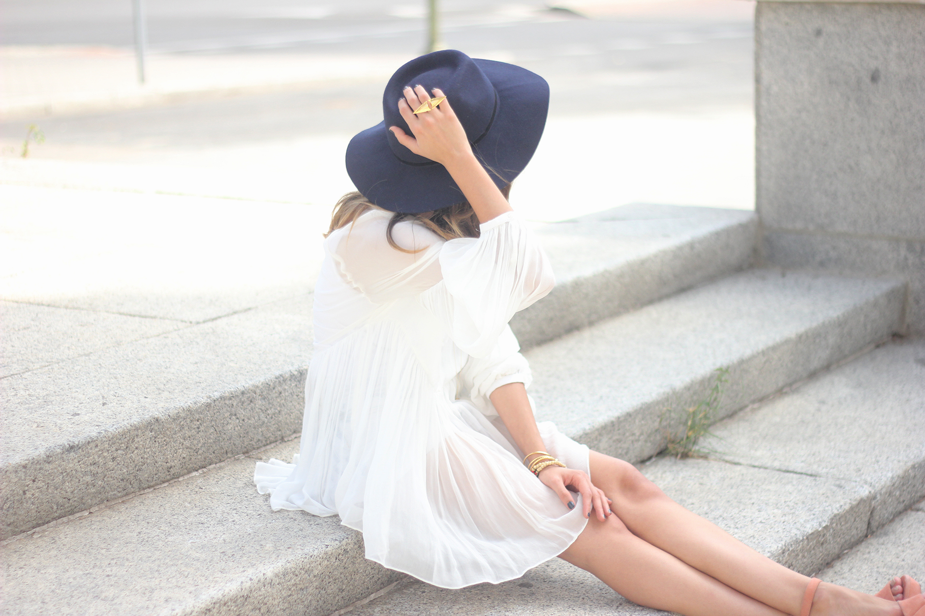 Blue Hat WHite Blouse Pink Pale Wedges Outfit31