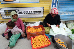 Ladakhi ladies selling fruit and vegetables