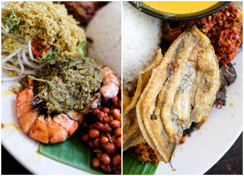 Pu3 Restaurant's nasi ambeng sahan set Up Close on pawns and Fried Fish