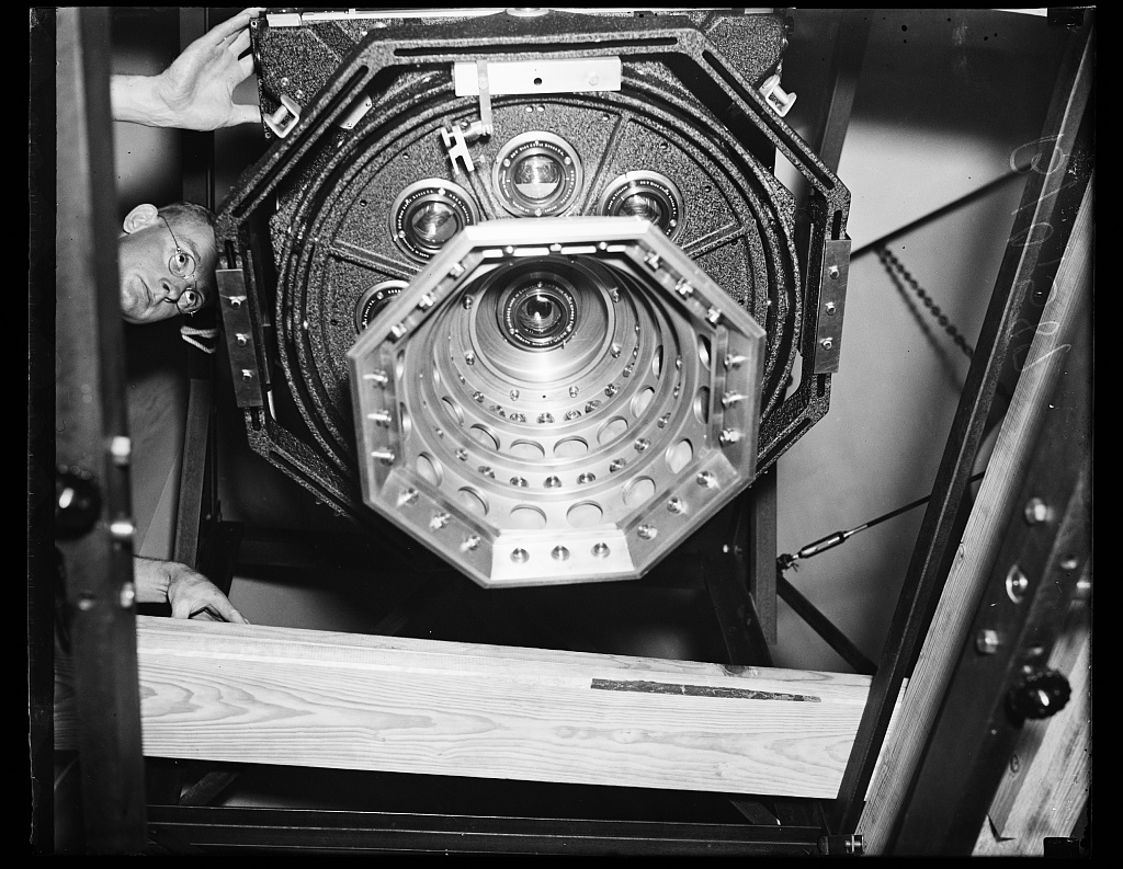 Identified! [9-lens aerial mapping camera made by the Fairchild Aerial Camera Corp. for the U.S. Coast & Geodetic Survey. It was built under the direction of Capt. O.S. Reading in 1935] (LOC)