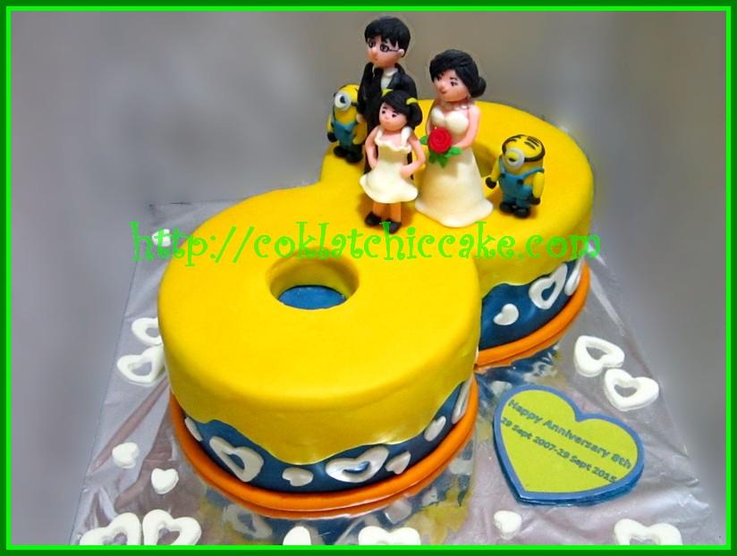 Cake angka 8 wedding anniversary dan minion