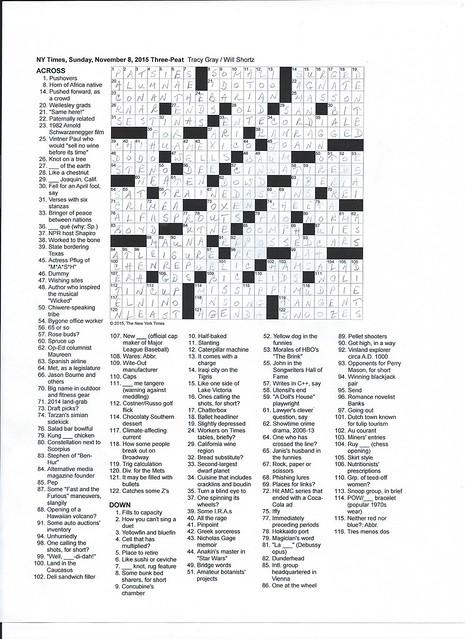 NYT Sunday Puzzle - November 8, 2015
