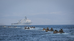 Marines conduct an amphibious assault exercise.