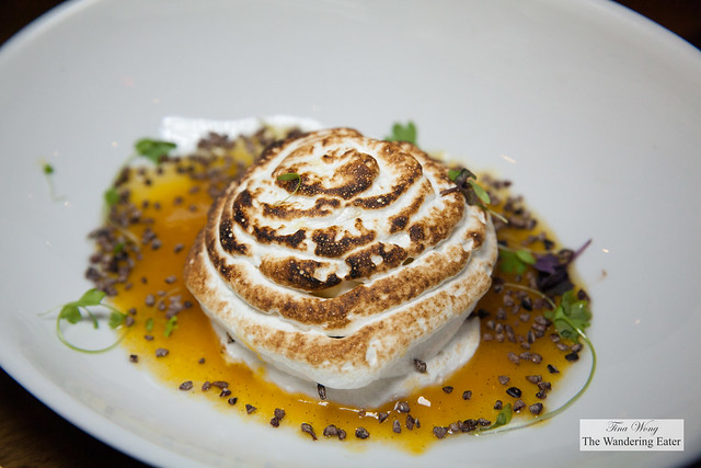 Baked Alaska - vanilla hazelnut crunch ice cream & chocolate ice cream, brownie, torched meringue, passion fruit