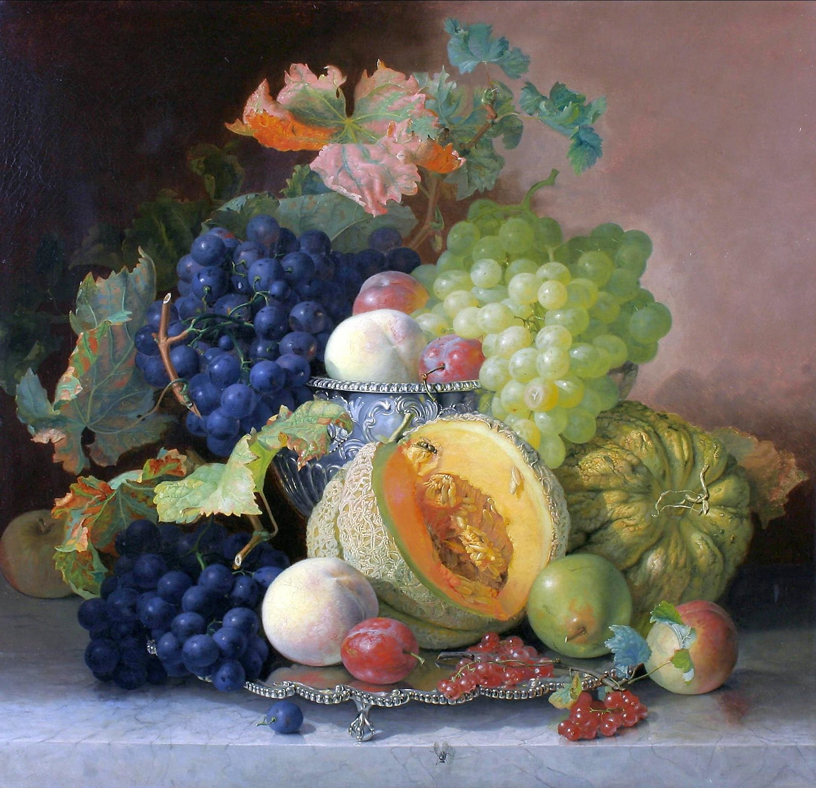 Still Life of Fruit and a Silver Bowl by Eloise Harriet Stannard, 1865