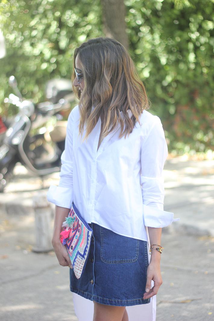 Long Shirt With Denim Skirt Summer Outfit 21