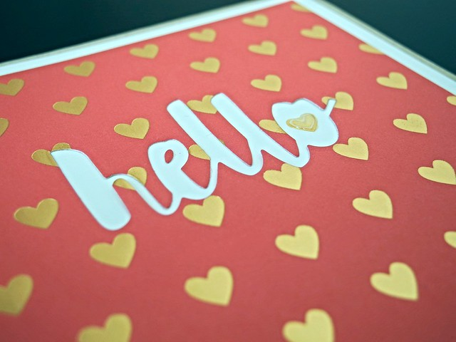 Gold Heart Hello by Jennifer Ingle #JustJingle #SimonSaysStamp #Cards