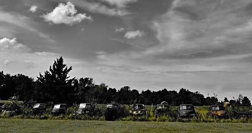 abandoned car yard vintage rust automobile decay retro missouri junkyard oldcars selectivecolor sliderssunday