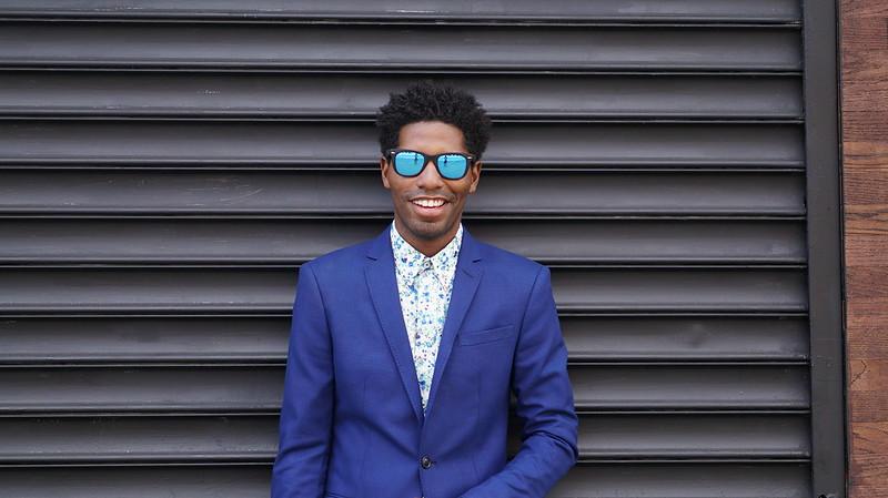 Blue Blazer, Floral Shirt, Mirrored Shades - Style Society Gu