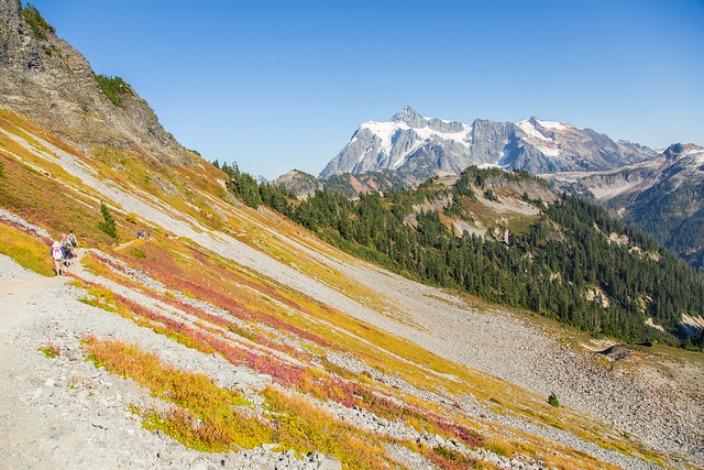 Scree slopes with Mount Shuksan in background.