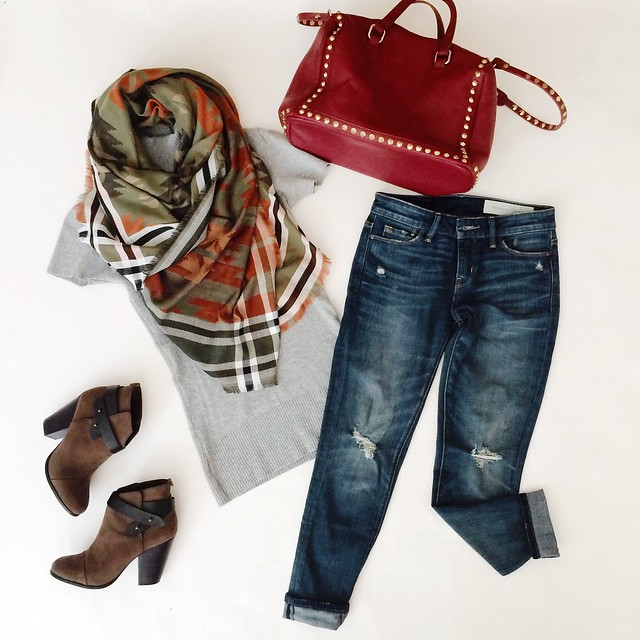 cute & little blog | southwestern blanket scarf, gray sweater tunic, distressed boyfriend jeans, maroon studded satchel, wrap ankle booties | fall outfit