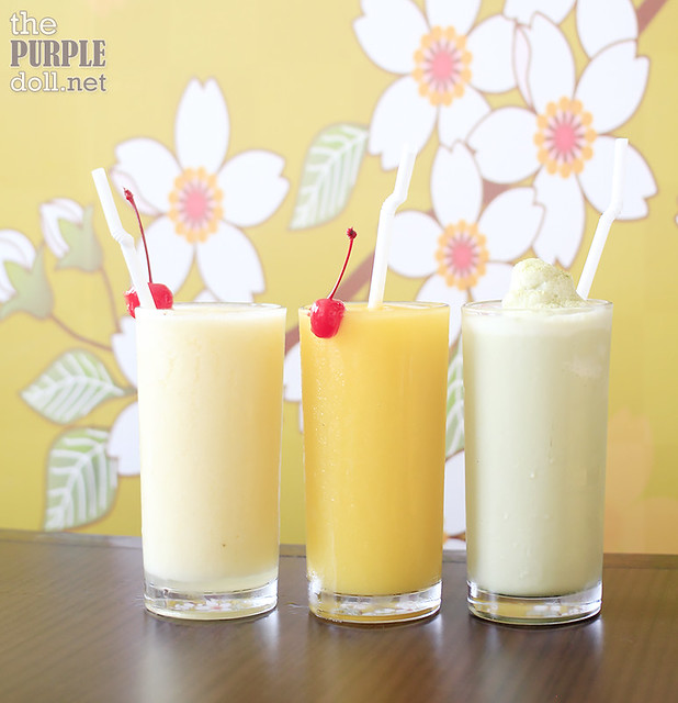 Pineapple Shake, Mango Shake, and Green Tea Shake (P120 each)