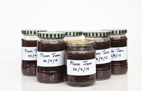 Jars of homemade plum jam