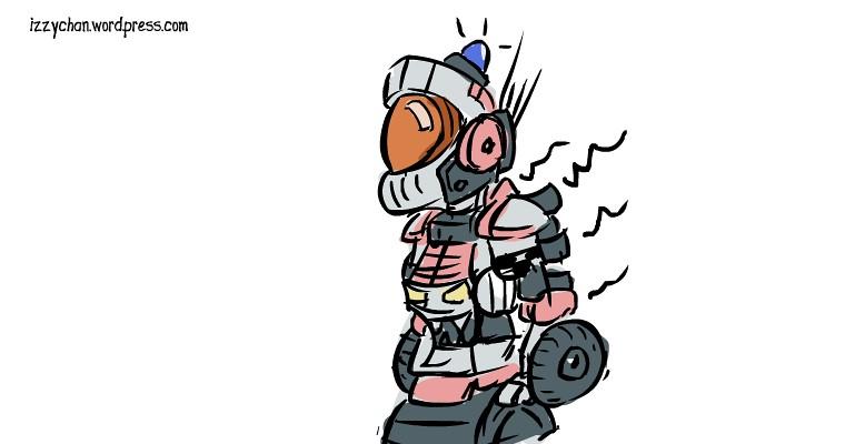 orange helmet robot wheels