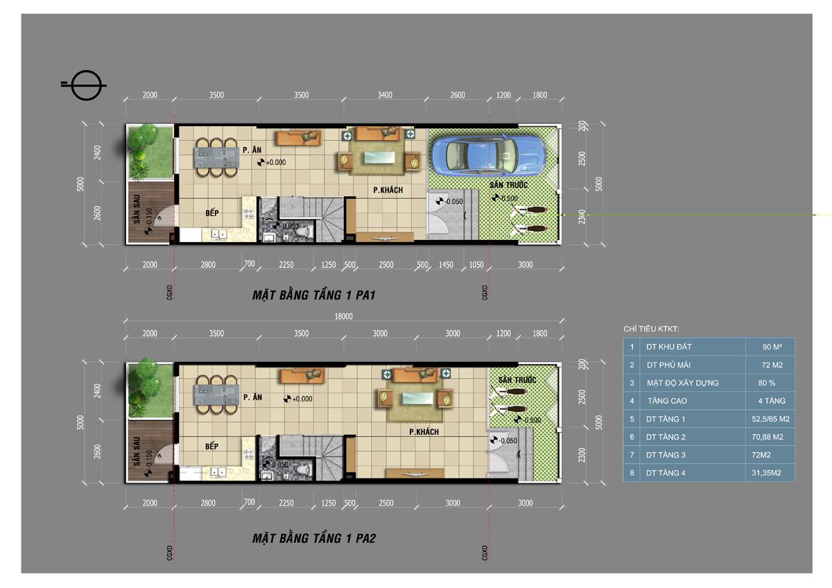 Mặt bằng tầng 1 với 2 phương án để xe hơi trong nhà