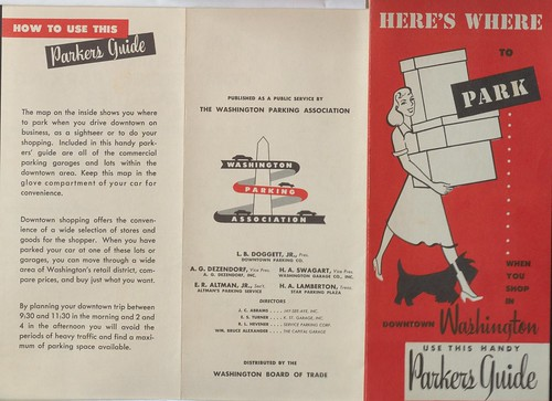DC, Washington Parking Association parking brochure front side,1953