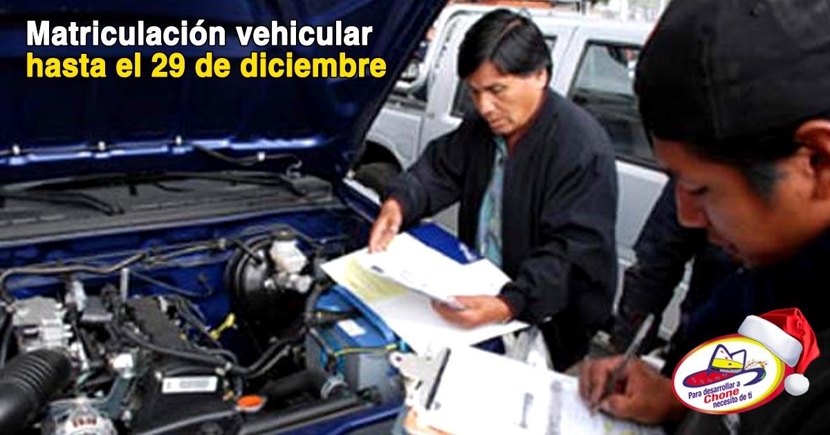 Matriculación vehicular hasta el 29 de diciembre