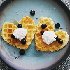 Snow day breakfast.  #wafflehearts