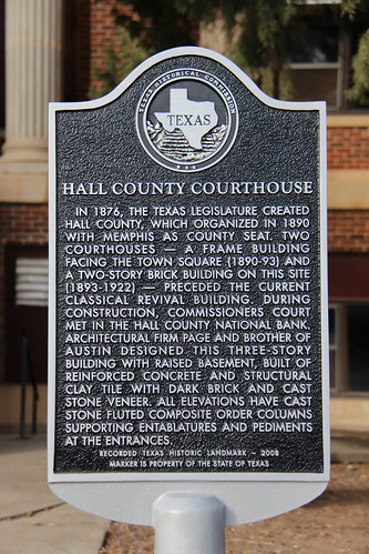 Hall County Courthouse Historical Marker (Memphis, Texas)
