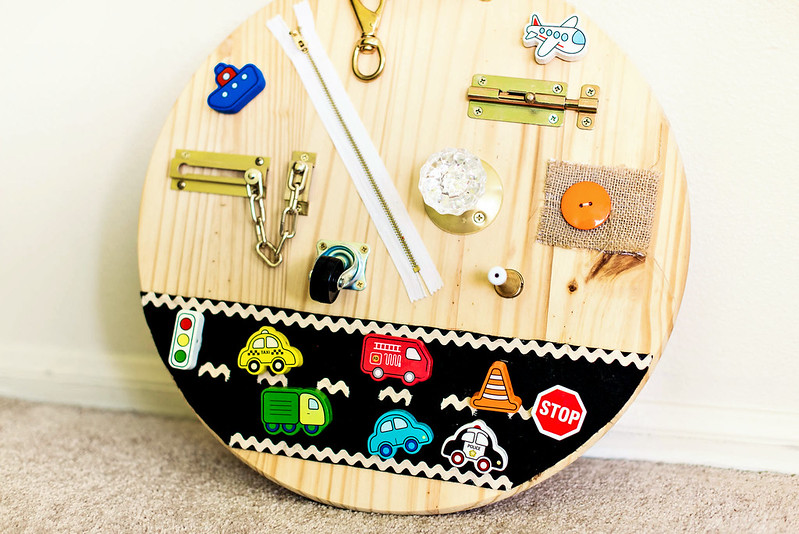 diy toddler busy board with hardware #playskoolcrew