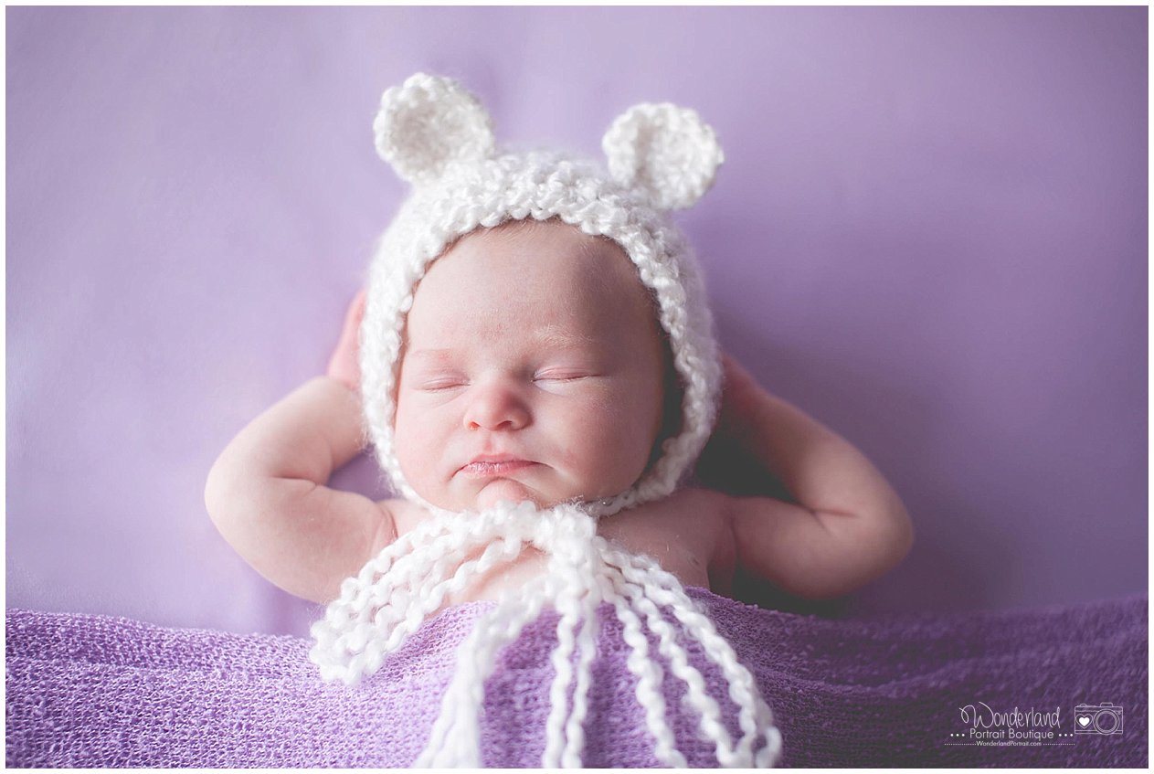 Newborn Girl Bear Hat Nighty Night Pose Relaxing