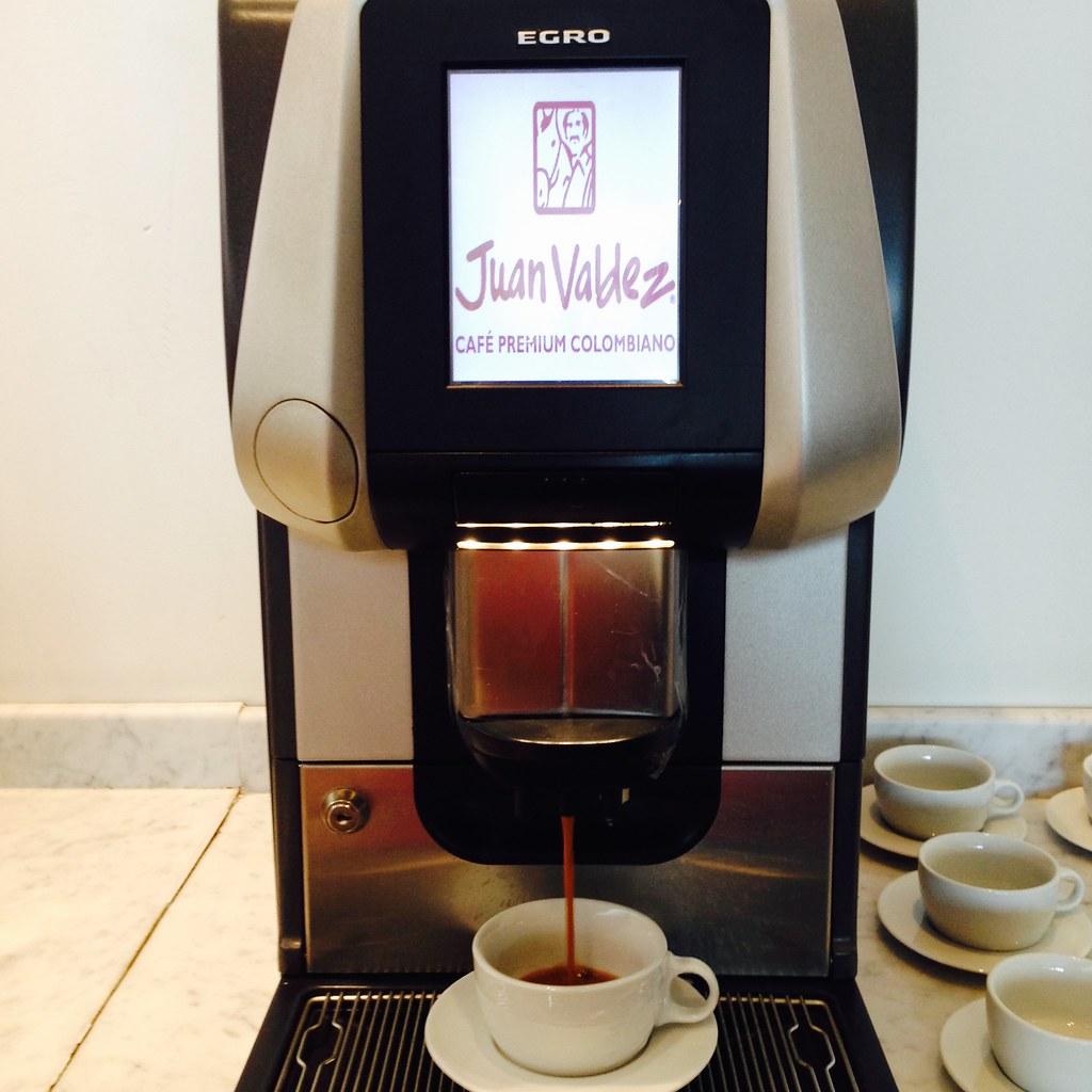 Lan Lounge at El Dorado Airport - espresso machine serves Juan Valdez