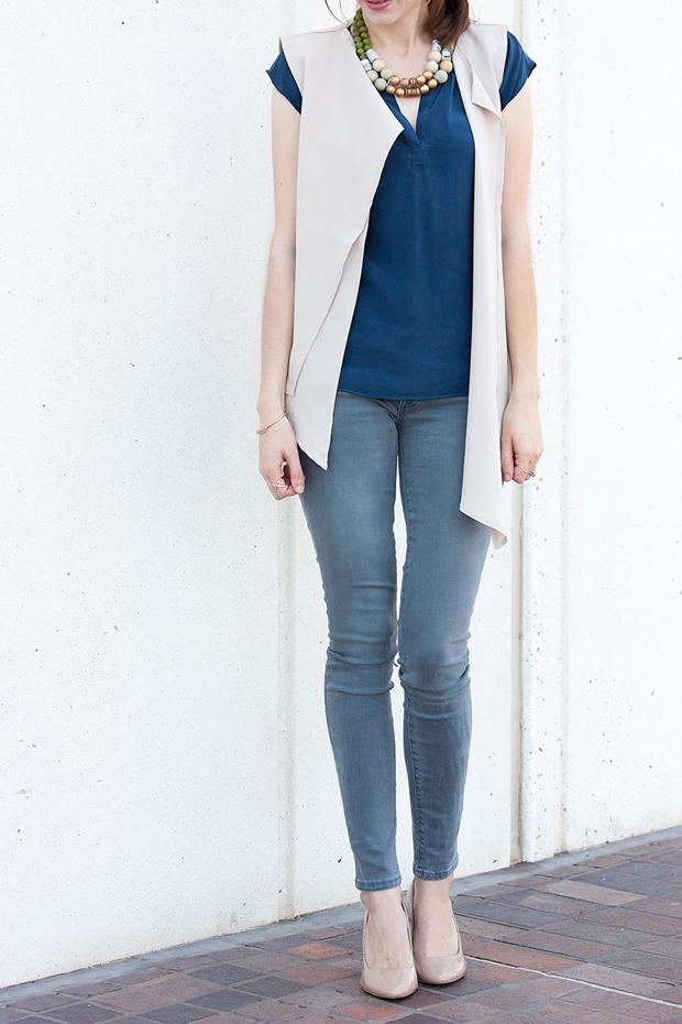 Asymmetrical Vest, Gap Skinny Jeans, Silk Top, Statement Necklace