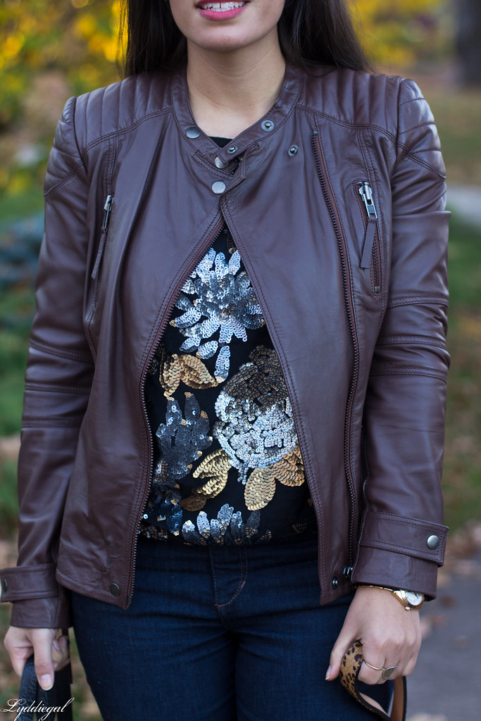 sequined sweater, brown leather jacket, jeans-3.jpg