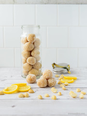 Lemon, Macadamia & Coconut Raw Truffles