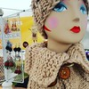Button cowled lady with felted earrings #felted   #handmade #knitting #bewilderknits #uptownfarmersmarket