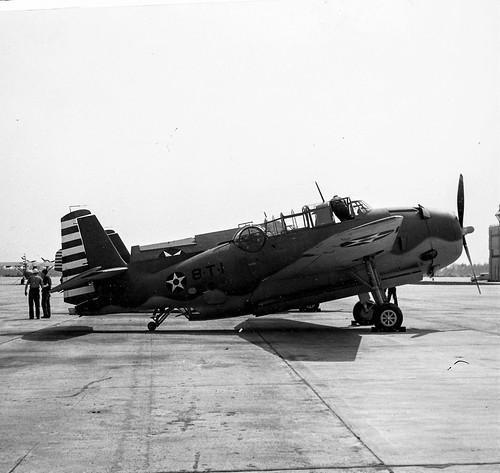 Grumman TBF-1 Avenger number 8-t-1 of torpedo Squadron 8 (VT-8) USN, naval base Norfolk 26th March 42