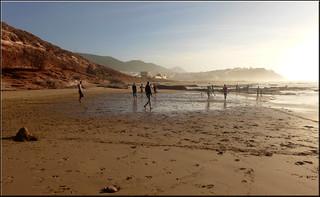 3742 Metre uzunluğunda plaj görüntü. sidiifni beach soccer fusball marokko maroc