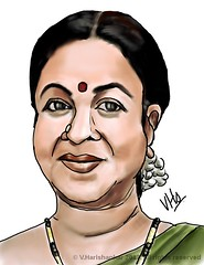 Radhikaa Sarathkumar portrait caricature