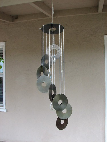 Recycled hard drive wind chime