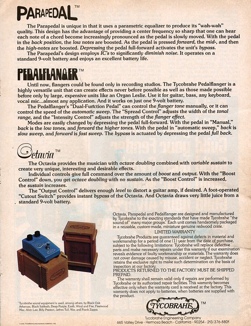 Photo:Tycobrahe advertisement with Octavia, Parapedal and Pedalflanger By germanium