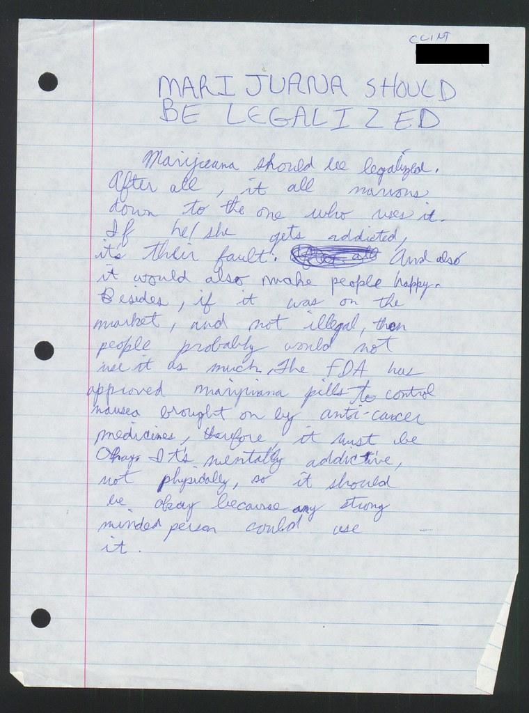 8th Grade 1988 Schoolwork Paper Marijuana Should Be Flickr