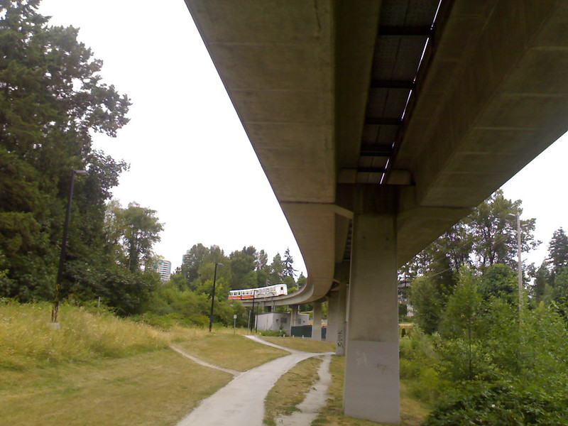 SkyTrain From Beneath Tracks Near Edmonds Station